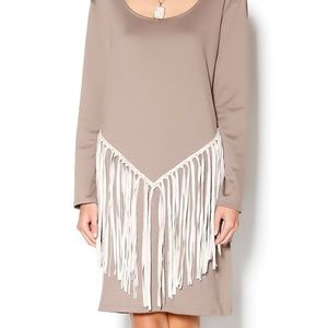 Missy Robertson boutique taupe fringed dress NWT